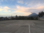 A (slightly blurry) early morning view of the volcano from the school grounds